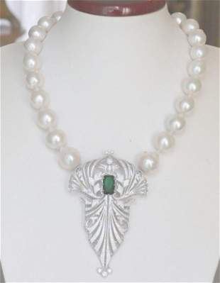 SouthSea Baroque Pearl 17-14mm,Necklace 18k W/g Overlay