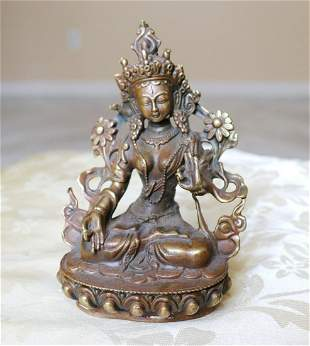 Chinese Gilt Bronze Seated Guanyin Statue 12th Century