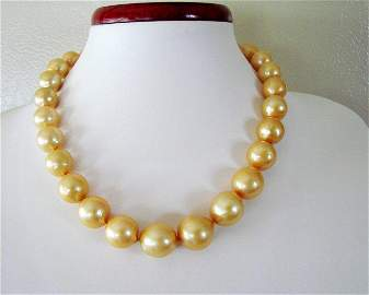 "Golden South Sea Pearl Graduation Necklace 17.5""inch"