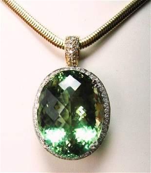 Green Amethyst & Diamond Pendant 46.64Ct 14k W-Y/g