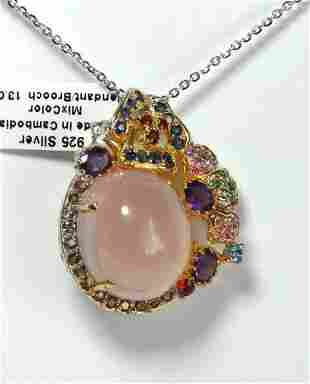 Natural Gems Multicolor Pendant /Brooch 26.35Ct 18k W/g