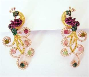 Bird Peacock Earrings 14.12 Ct 18k R/g Overlay 925