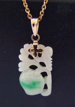 Natural Caved Mango Fruit Jade A+ Pendant 14k Y/g