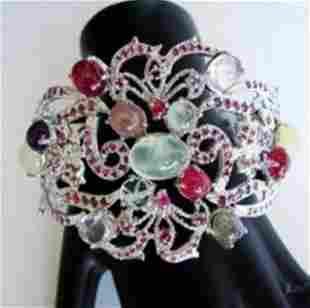 Bangle Natural Gems Multicolor 59.63Ct 18k W/g Overlay