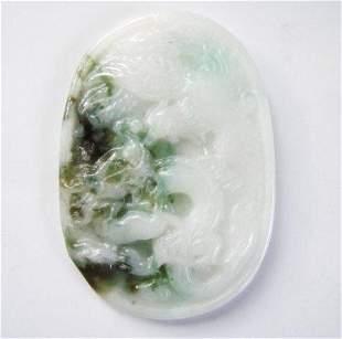 Natural green jadeite jade Dragon and Phoenix Grade A