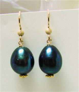 Black Pearl Dangle Earring 14k Gold Filled