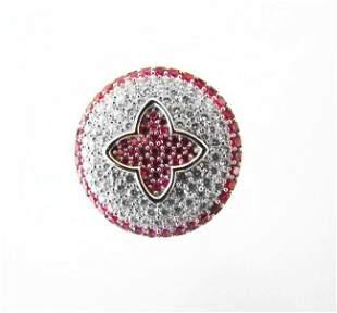 Creation Diamond Ruby Ring 2.10Ct 18k W/g Overlay