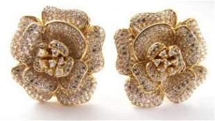 Ceartion Diamond Flower Earrings 4.92Ct 18k Y/g Overlay