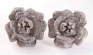 Creation Diamond Flower Earrings 4.92Ct 18k W/g Overlay