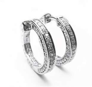 Creation Diamond Hoop Earrings 2.00Ct 18k W/g Overlay