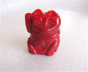 Loose Natural Coral Carved Carved Cat 95.80 Ct