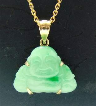 Maitreya Buddha pendant Jade Size L15x W 15mm 14kY/g