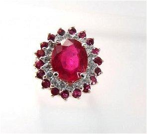 Ruby: 5.32 Diamond: .72CT Ring 14k White Gold
