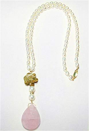 Rose Quartz /Agate/ Pearl Necklace with Y/G Clas