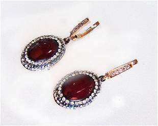 Red Agate Earrings 24.96Ct 18k Two Tone Overlay