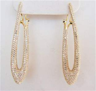 Creation Diamond Chandeliers Ear 4.85Ct 18k Y/g Overlay