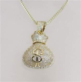 Hip Hop Money Bag 18k Yellow Gold