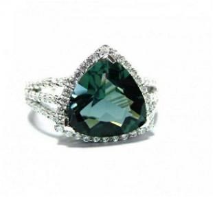 Creation Diamond: 1.Ct /Green Toumaline 4.56 Ct 18k W/g