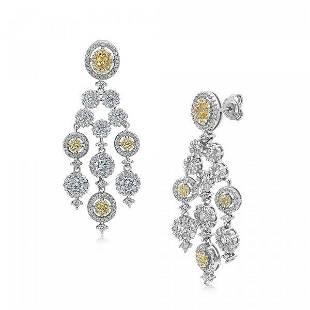 Creation, W/Y Diamond Chandelier Earrings 1.90CT 18K W/