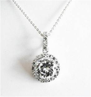 Creation Diamonds Pendant 3.00Ct 18k W/g Overlay