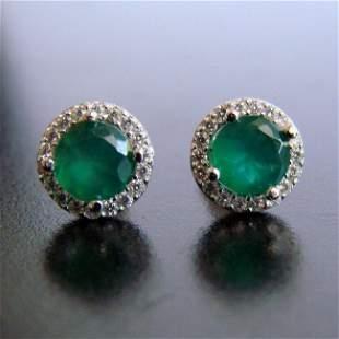 Creation Diamond & Emerald Stud Earring 1.72Ct 18k W/g
