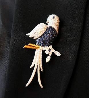 Bird Brooch 18k White Gold Overlay 925