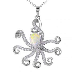 Creation, Diamond Octopus Necklace 18k W/G Overlay