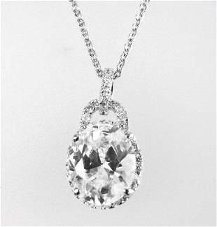 Creation Diamond/ Necklace 3.10CT 18k W/G Overlay