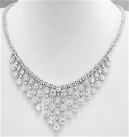Creat Diamond 38.10Ct Necklace 18k W/g Overlay Silver