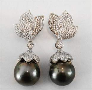 Baroque, South Sea Pearl Earrings 18k W/g Gold Overlay