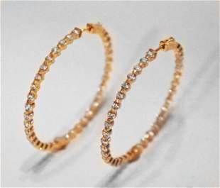 Hoop Earrings Creation, Diamond 18K Y/g Overlay 925