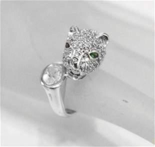 Lion Ring Creation, W/diamond & Emerald 18K W/g Overly