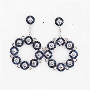 Earrings Creation Blue Sapphire/Diamond 18k W/g Overlay