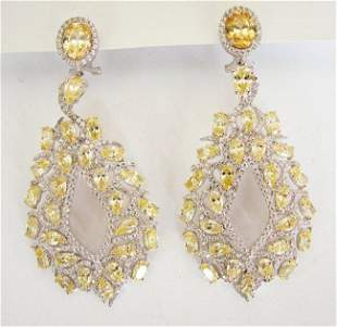 Creation,Diamond Fancy Earri 18.49Ct 18k W/g Overlay