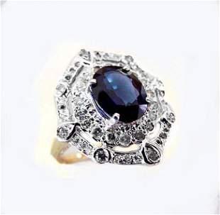 Ring Natural Blue Sapphire Diamond 4.33Ct 14k Y/g