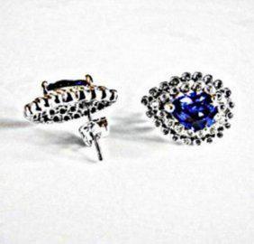 Creation Diamond/Tanzanit Earrings 3.29 CT 18k W/G Over