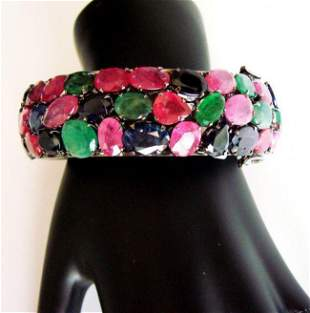 Bangle Natural Gems Multicolor 345.93Ct 18k B/g Overlay