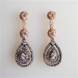 Creation, Diamonds Earrings 4.48Ct 18k Two-Tone Overlay