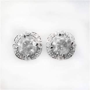 Jacket Stud Earrings Diamond 3.03Ct 18K White Gold