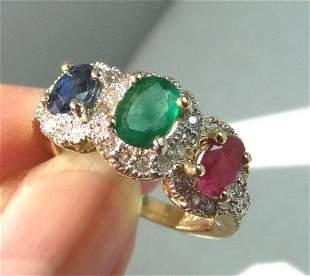 Multi Colored Ring 2.10Ct Diamond:1.00Ct 14k Y/g