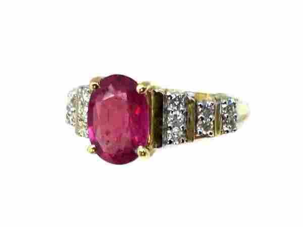Ruby 1.67CT, Diamond: .52CT Ring 14k Yellow Gold