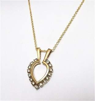 Heart Pendent Diamond .75Ct 14k Yellow Gold