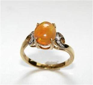 Mexican Opal Ring: 1.57 Ct Dia: .10 CT 14k Y/G
