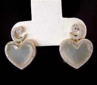 Creation Diamond Moon Earrings 29.86Ct 18k Y/g Overlay