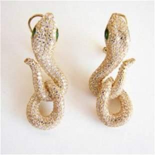 Creation Diamond Snake Earrings 6.57Ct 18k Y/g Overlay
