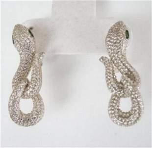 Creation Diamond Snake Earrings 6.57Ct 18k W/g Overlay