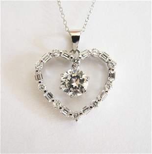 Creation Diamond Heart Pendant 3.79Ct 18k W/g Overlay