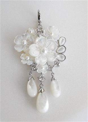 Mabe/ Pearl Pendant and Pin/ 18K W/G Overlay
