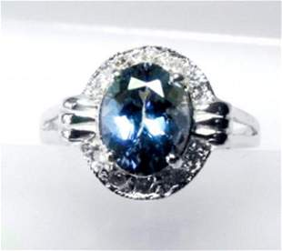 Natural Tanzanite & Diamond Ring 2.03Ct 14k W/g