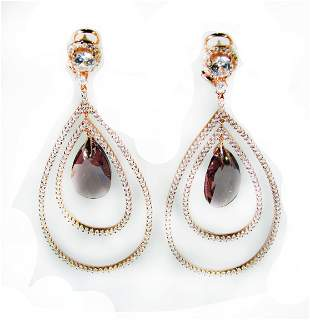 Creation Amethyst/Diamond Earrings 8.09 Ct 18k R/g